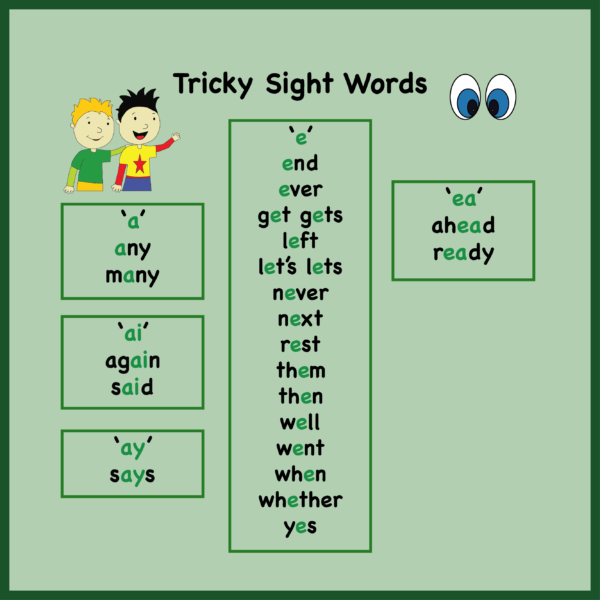 Tricky Words with a short E sound
