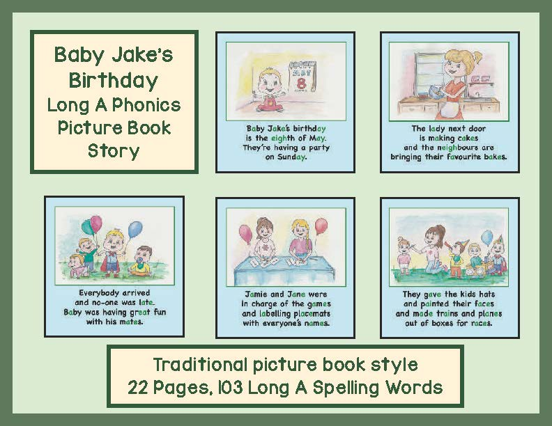 Long A Phonics Picture Book Story Baby Jake's Birthday