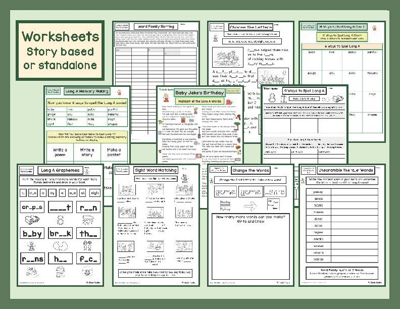 Long A Literacy Centre Student Worksheets