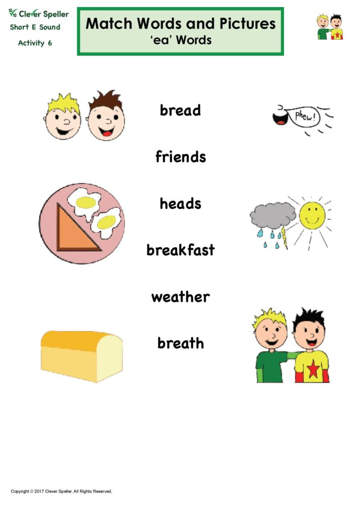 Short E Matching Words and Pictures Thumbnail 3