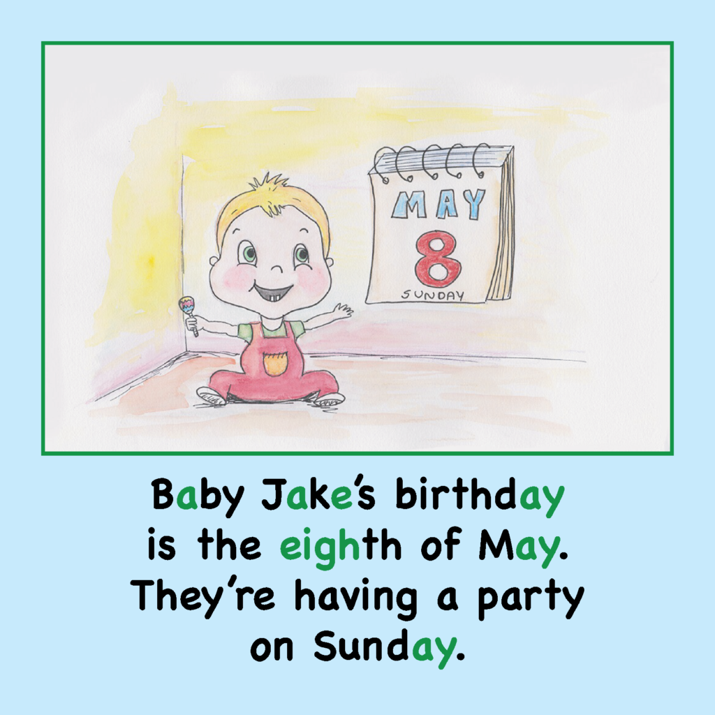 Baby Jake's Birthday Long A Phonics Story US Spelling_Page_06