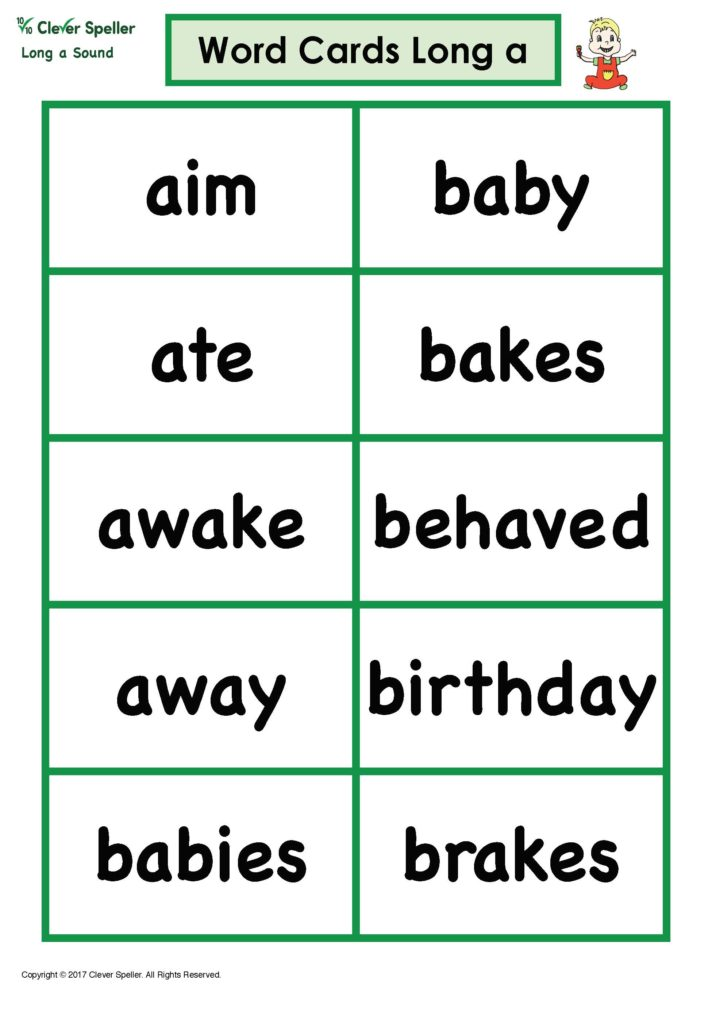 Long a Word Cards Thumbnail Black Letters